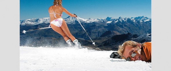 Bikini clad skier